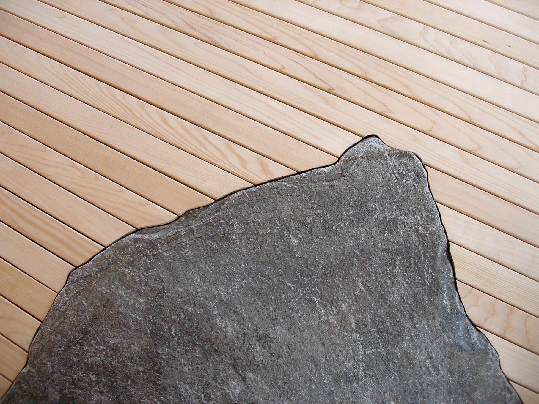 West Wind floor detail; stone meets wood