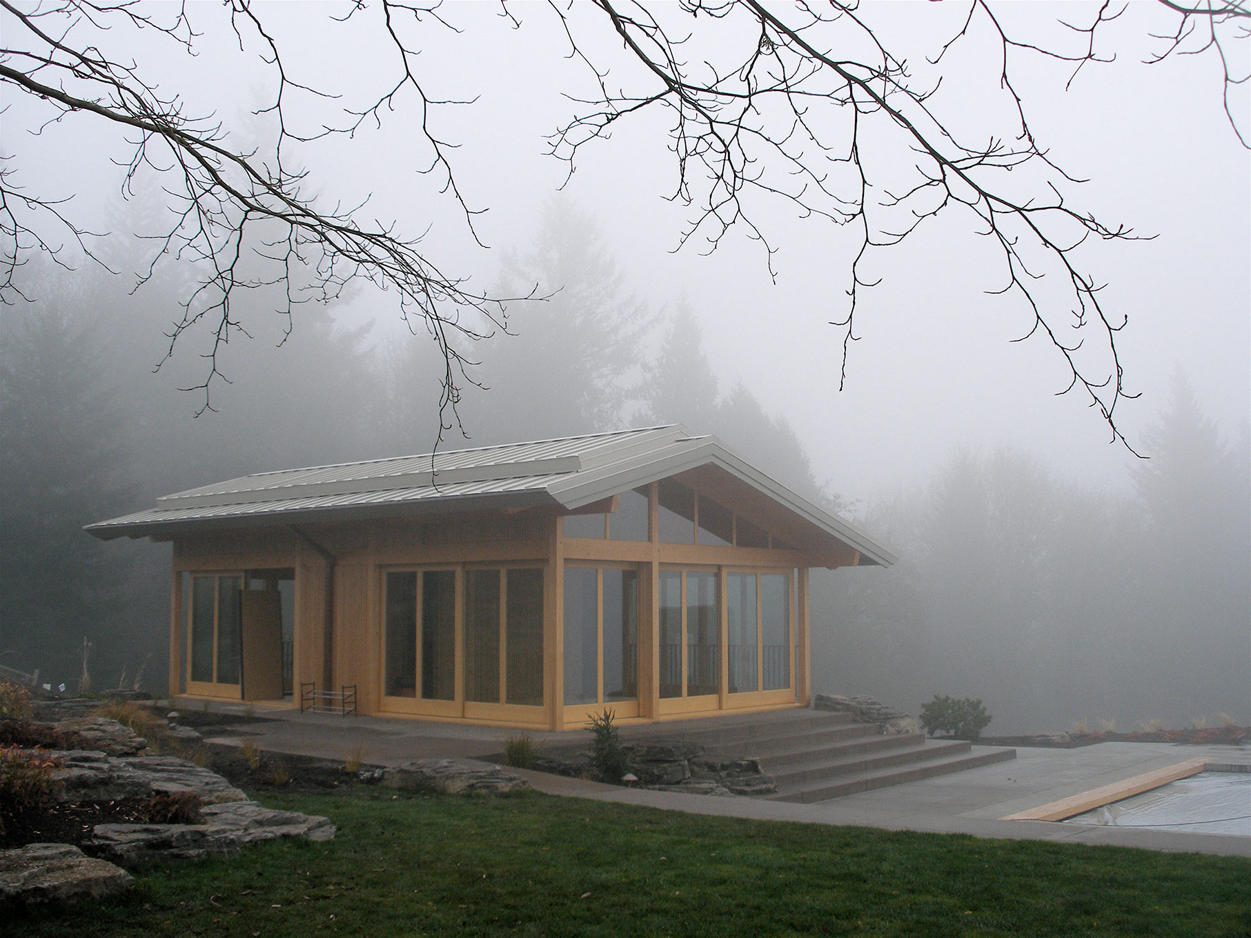 West Wind exterior in fog